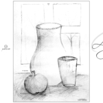 Alyona Soul Girl Still Life Loneliness Window Apple Glass Vase Picture Drawing with Pencil 2019
