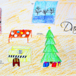 Daria Soul Girl Home Christmas Tree TV Piano Winter Window Art Drawing With Pastel Art Style 2019