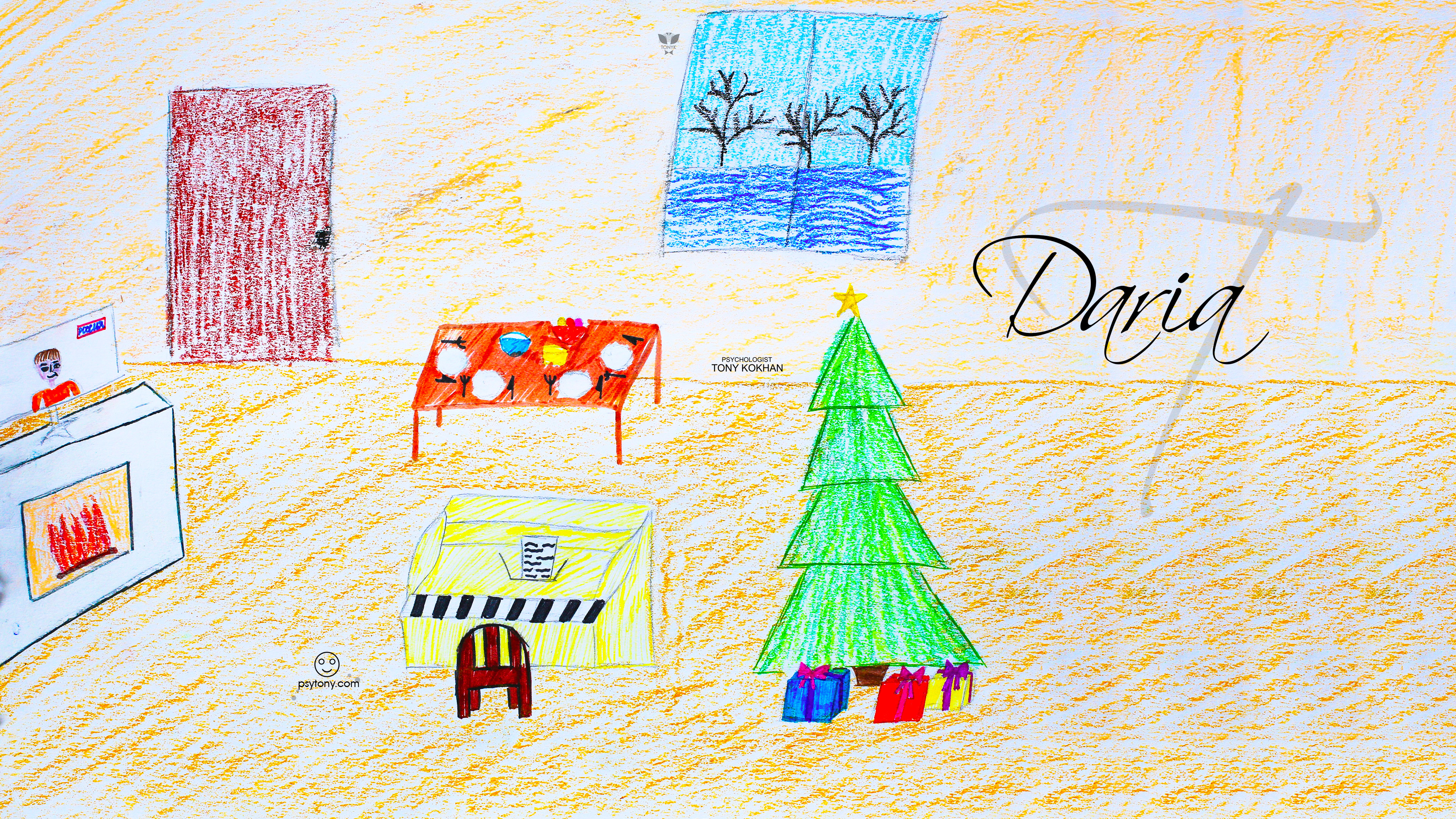 Daria-Soul-Girl-Home-Christmas-Tree-TV-Piano-Winter-Window-Art-Drawing-With-Pastel-Art-Style-2019-Multicolors-4K-Wallpapers-by-Psychologist-Tony-Kokhan-www.psytony.com-image