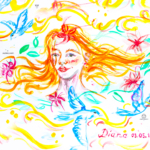 Diana Soul Girl RedHead Super Five Flowers Five Pigeons Live Picture Drawing Gouache Art 2019