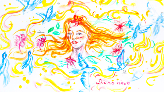 Diana-Soul-Girl-RedHead-Super-Five-Flowers-Five-Pigeons-Live-Picture-Picture-Drawing-Gouache-Art-2019-Multicolors-4K-Wallpapers-by-Psychologist-Tony-Kokhan-www.psytony.com-image