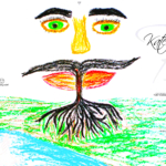 Ekaterina Soul Girl Tree of Life Man Energy Face Mustache Eyes Picture Drawing with Pastel Art 2019