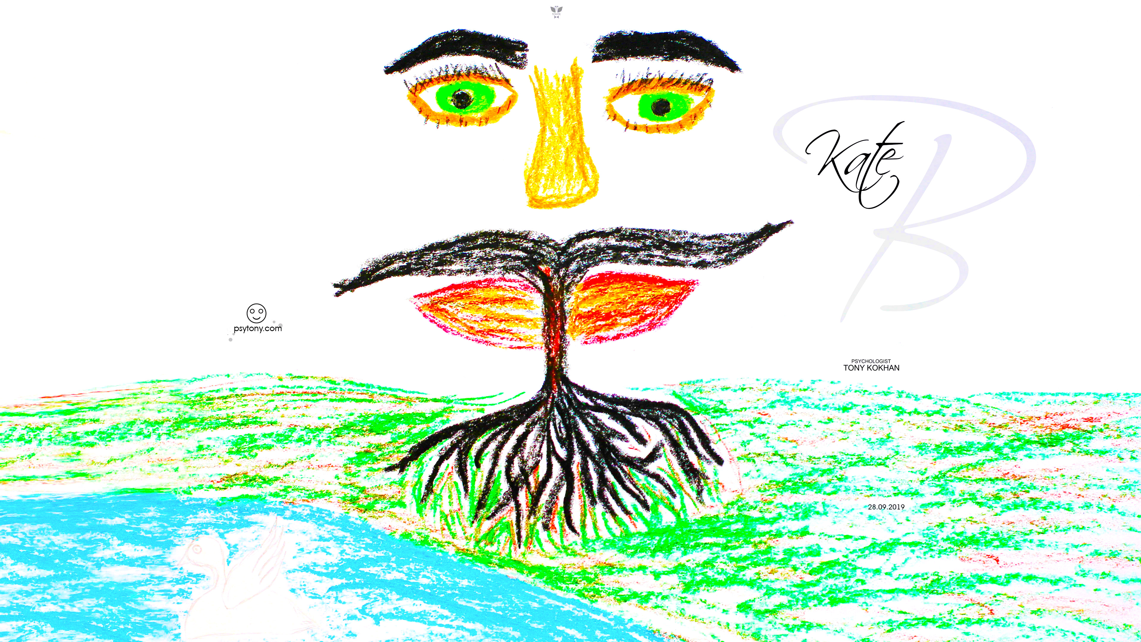 Ekaterina-Soul-Girl-Tree-of-Life-Man-Energy-Face-Mustache-Eyes-Picture-Drawing-with-Pastel-2019-Multicolors-4K-Wallpapers-by-Psychologist-Tony-Kokhan-www.psytony.com-image