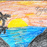 Evgenia Soul Girl Sunset Palm Trees Mountains Hedges Art Style Picture Drawing With Pastel 2019