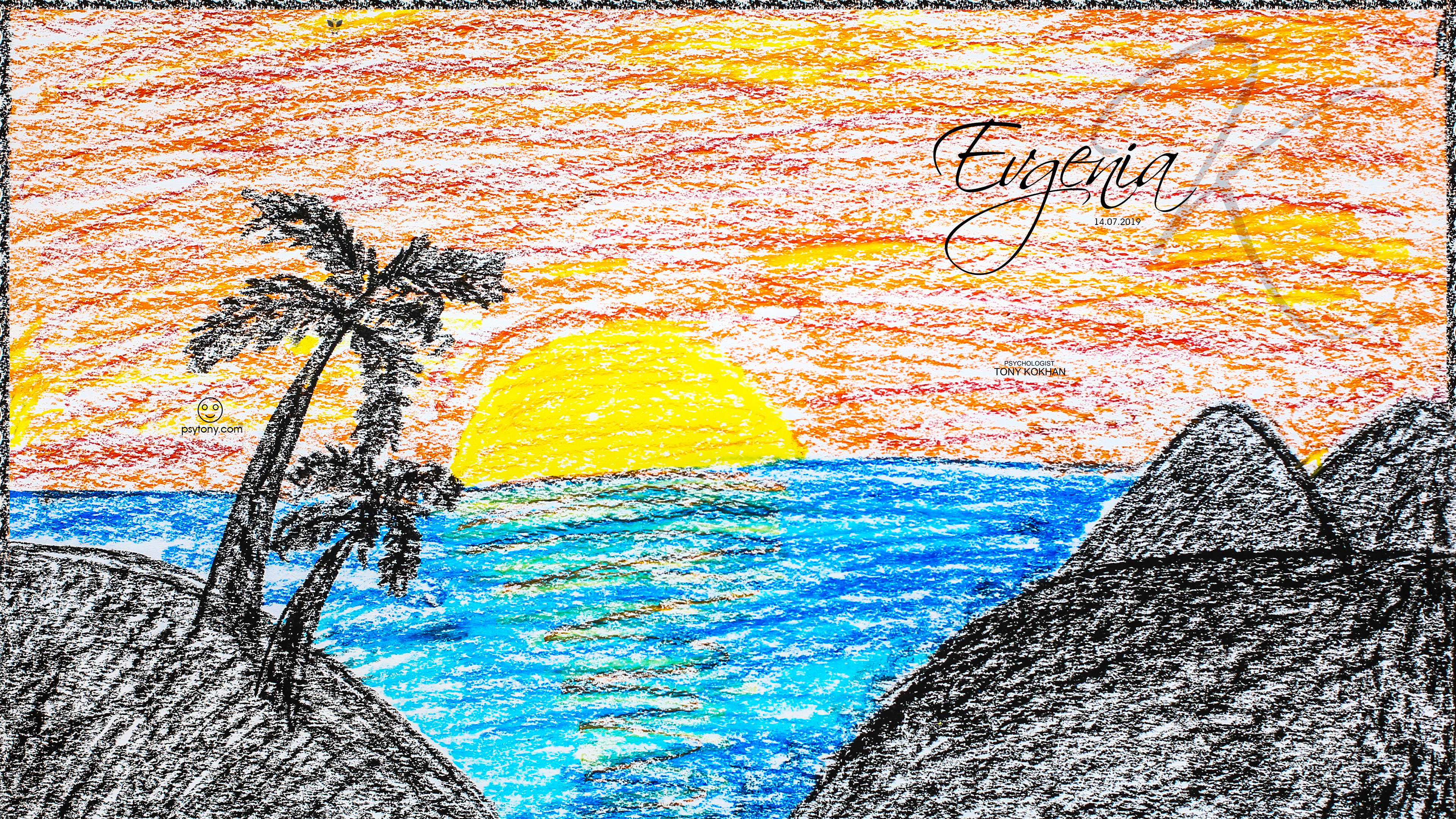 Evgenia-Soul-Girl-Sunset-Palm-Trees-Mountains-Hedges-Art-Style-Picture-Drawing-With-Pastel-2019-Multicolors-4K-Wallpapers-by-Psychologist-Tony-Kokhan-www.psytony.com-image
