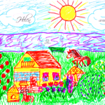 Helen Soul Girl Nature Sun Water Home Horse Dog Animal Summer Drawing With Markers Soul Art Style 2019