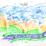 Konstantin Soul Boy Nature Mountains Sky River Art Picture Drawing With Markers 2019