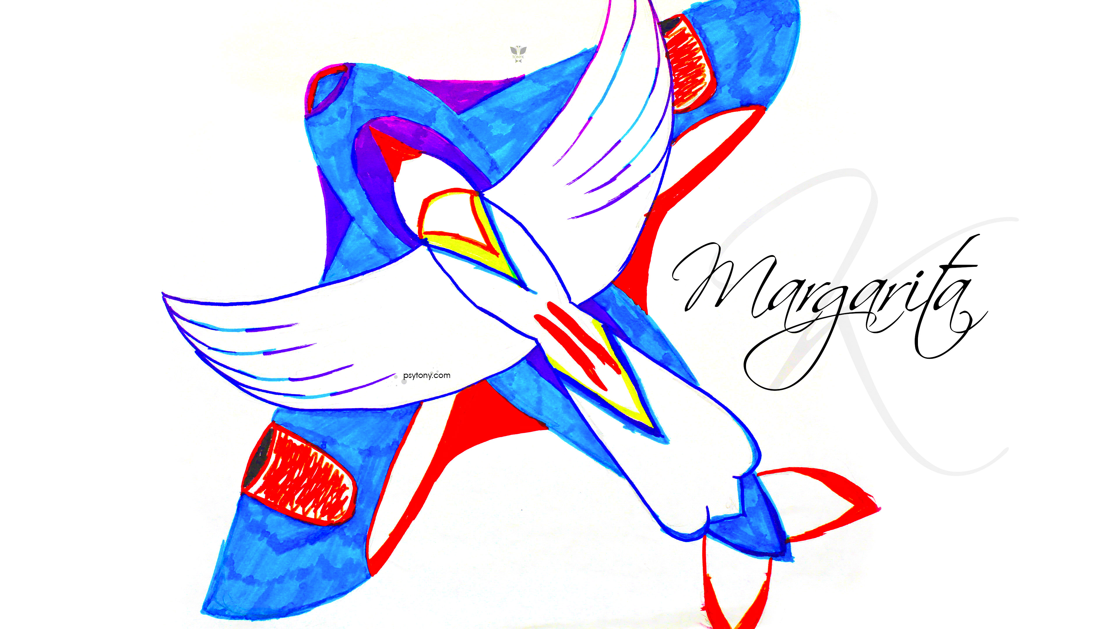 Margarita-Soul-Girl-Super-Bird-And-Aircraft-Fly-Drawing-With-Markers-Soul-Art-2019-Blue-White-Red-Colors-4K-Wallpapers-by-Psychologist-Tony-Kokhan-www.psytony.com-image