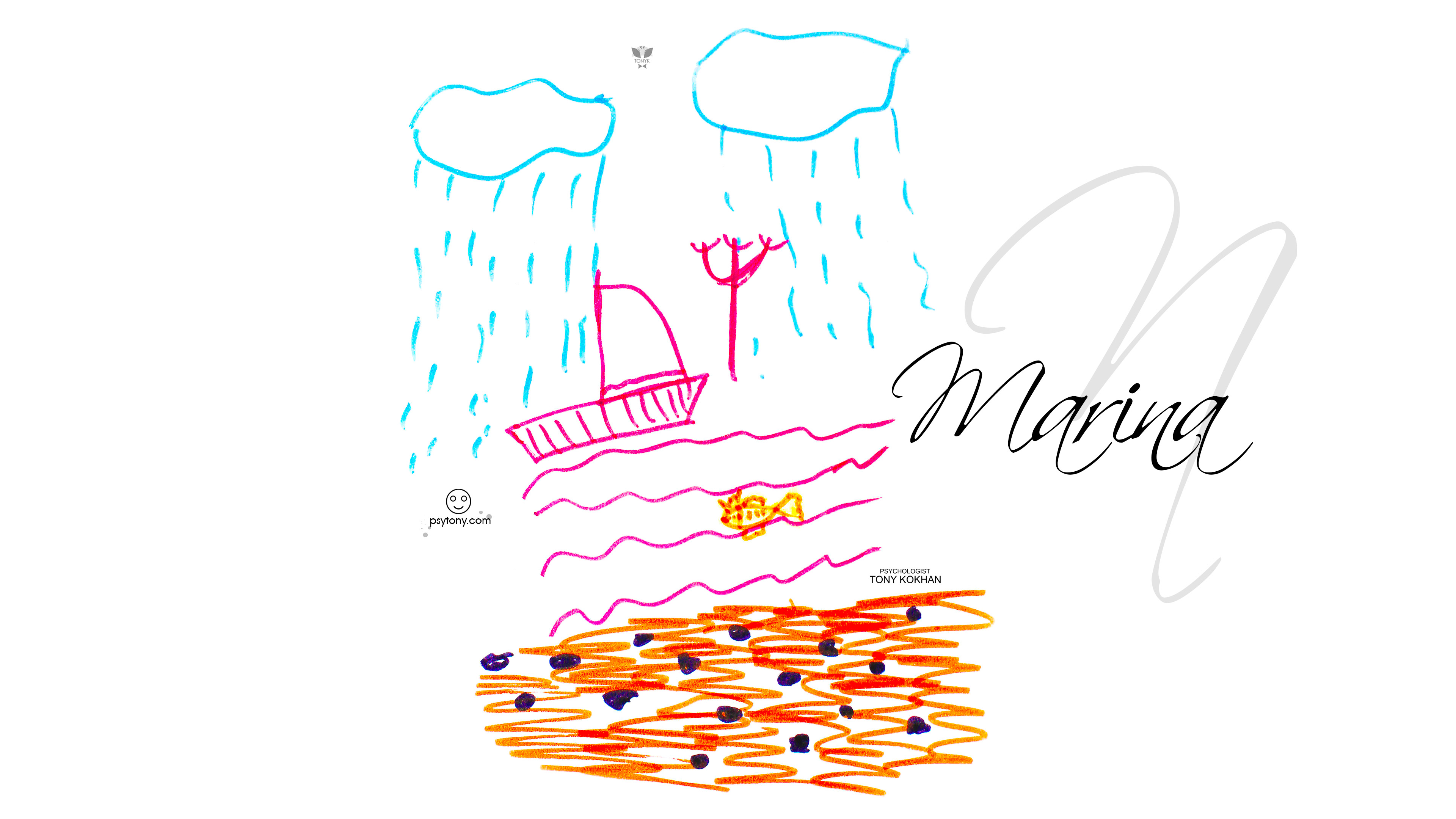 Marina-Soul-Girl-Cry-Face-Sea-Sail-Goldfish-Sand-Art-Picture-Drawing-With-Markers-2019-Multicolors-4K-Wallpapers-by-Psychologist-Tony-Kokhan-www.psytony.com-image
