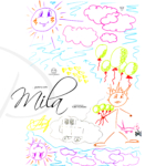 Mila Soul Girl Shock Man Little Cat Bubbles Violet Sun Sky Pink Clouds Drawing With Markers Picture 2019