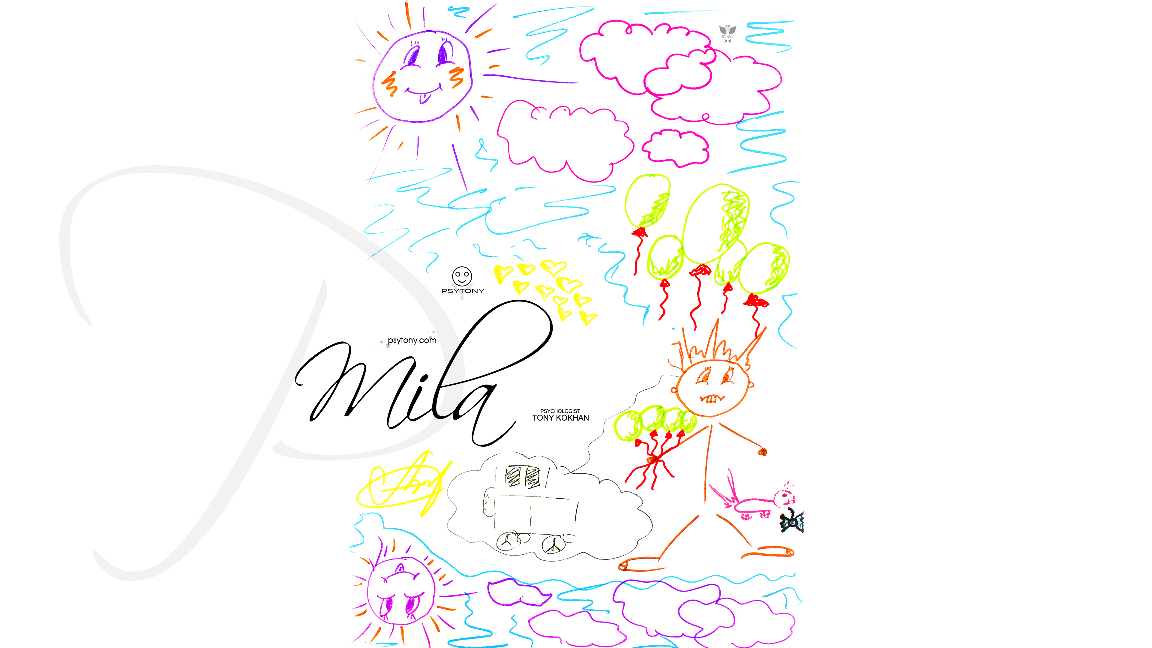Mila-Soul-Girl-Shock-Man-Little-Cat-Bubbles-Violet-Sun-Sky-Pink-Clouds-Drawing-With-Markers-Picture-2019-Multicolors-4K-Wallpapers-by-Psychologist-Tony-Kokhan-www.psytony.com-image