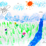 Nataly Soul Girl Nature River Mountains Sun Flowers Art Picture Drawing With Watercolor 2019