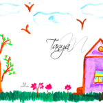 Tanya Soul Girl Nature Home Tree Grass Flowers Sky Birds Art Picture Drawing with Watercolor 2019