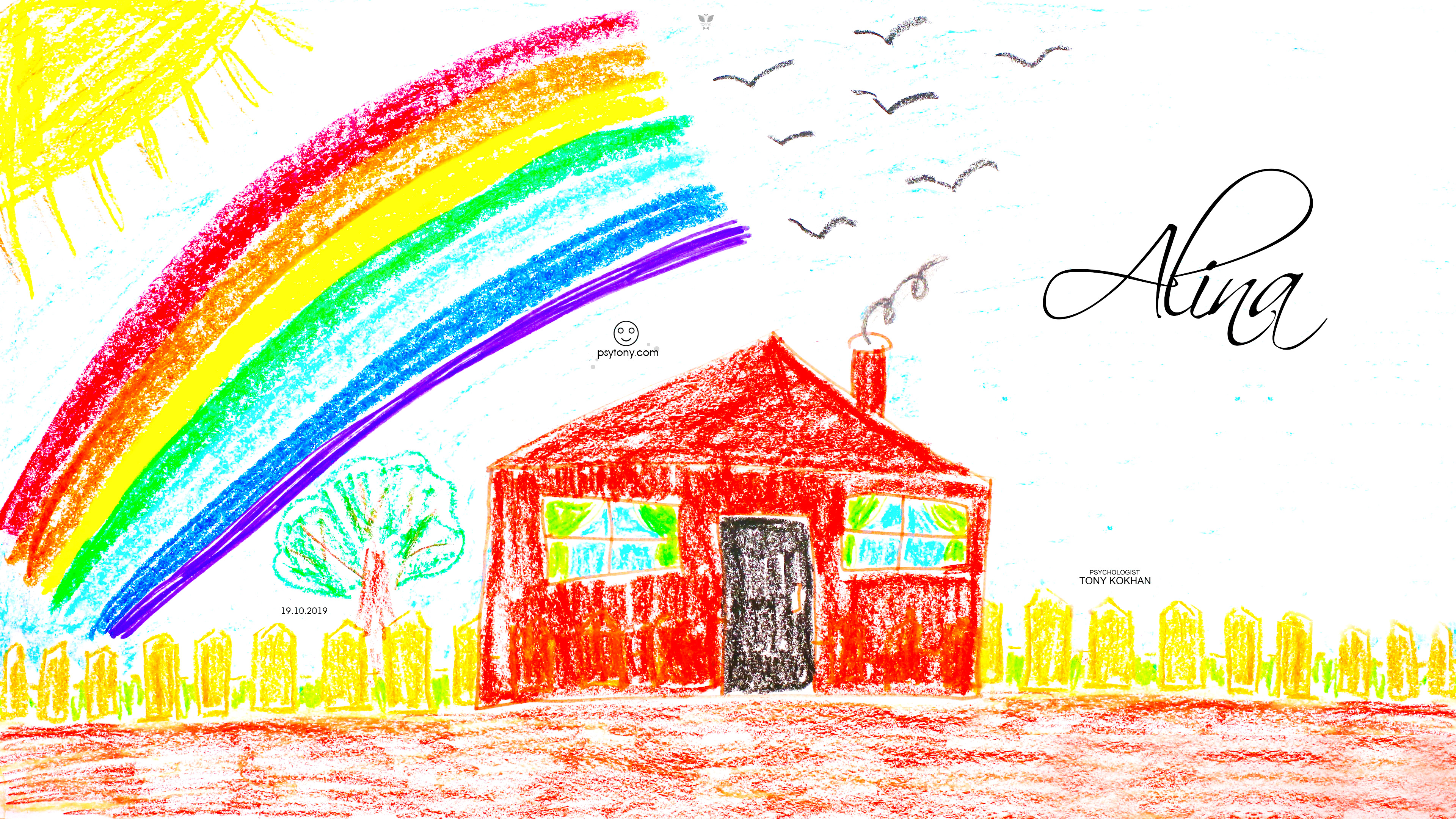 Alina-Soul-Girl-Sun-Rainbow-Tree-Home-Close-Door-Smoke-Birds-Fence-Evil-Emotions-Picture-Drawing-with-Pastel-2019-Multicolors-4K-Wallpapers-by-Psychologist-Tony-Kokhan-www.psytony.com-image