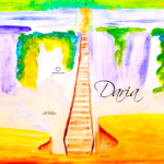 Daria Soul Girl Bridge Waterfall Nature Snake Elephant UpDown Art Picture Drawing with Gouache 2019