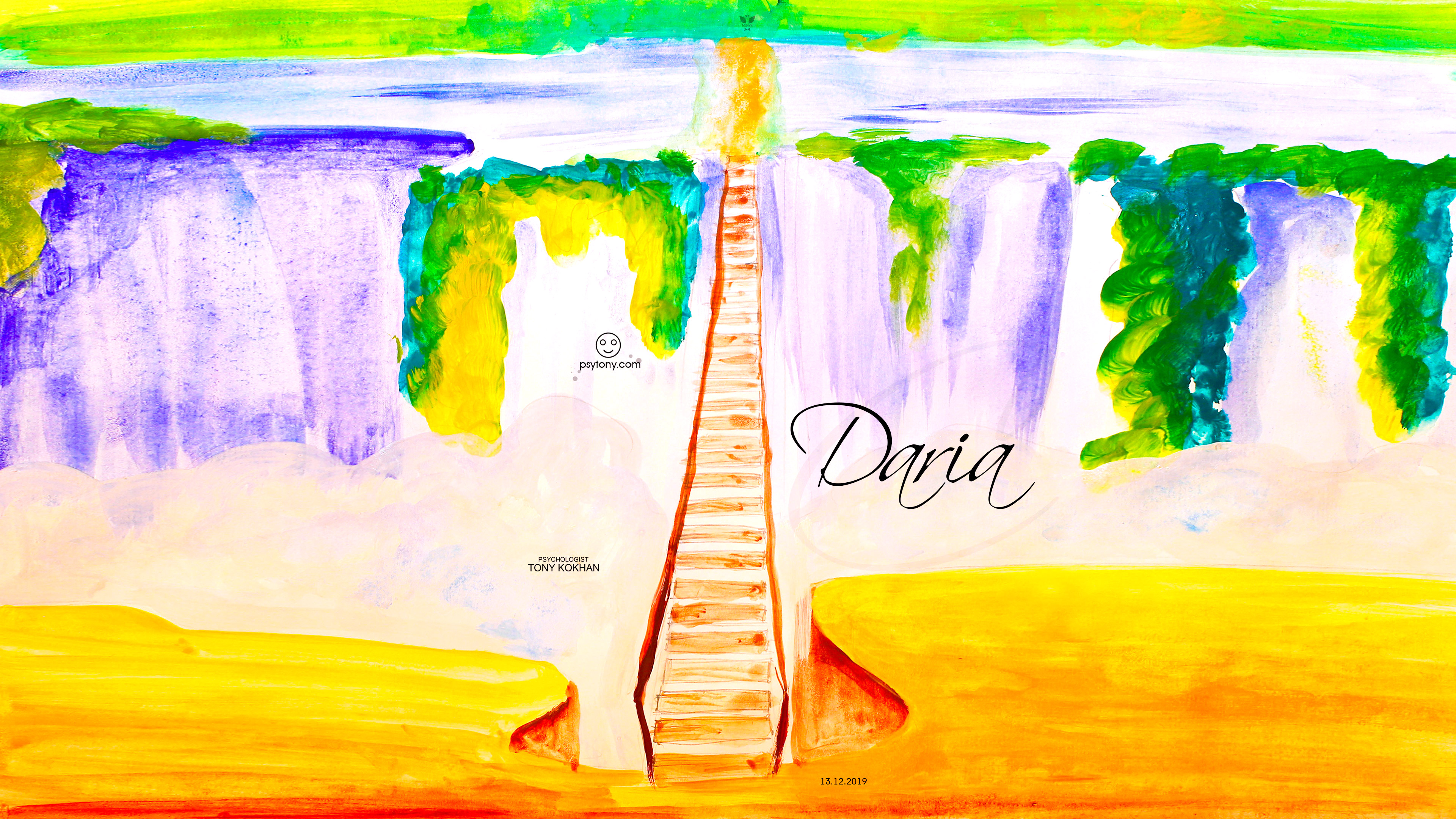 Daria-Soul-Girl-Bridge-Waterfall-Nature-Snake-Elephant-UpDown-Art-Picture-Drawing-with-Gouache-2019-Multicolors-4K-Wallpapers-by-Psychologist-Tony-Kokhan-www.psytony.com-image