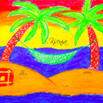 Ksenia Soul Girl Sea Summer Palm Trees Isle Sand Chest Hidden Treasures Hammock Relax Picture Pastel 2019