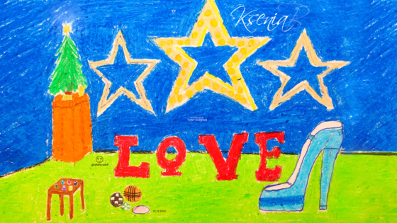 Ksenia-Soul-Girl-Space-Studio-Christmas-Tree-Stars-Love-Shoe-Heel-Paints-Balls-Picture-Drawing-with-Pastel-2019-Multicolors-4K-Wallpapers-by-Psychologist-Tony-Kokhan-www.psytony.com-image