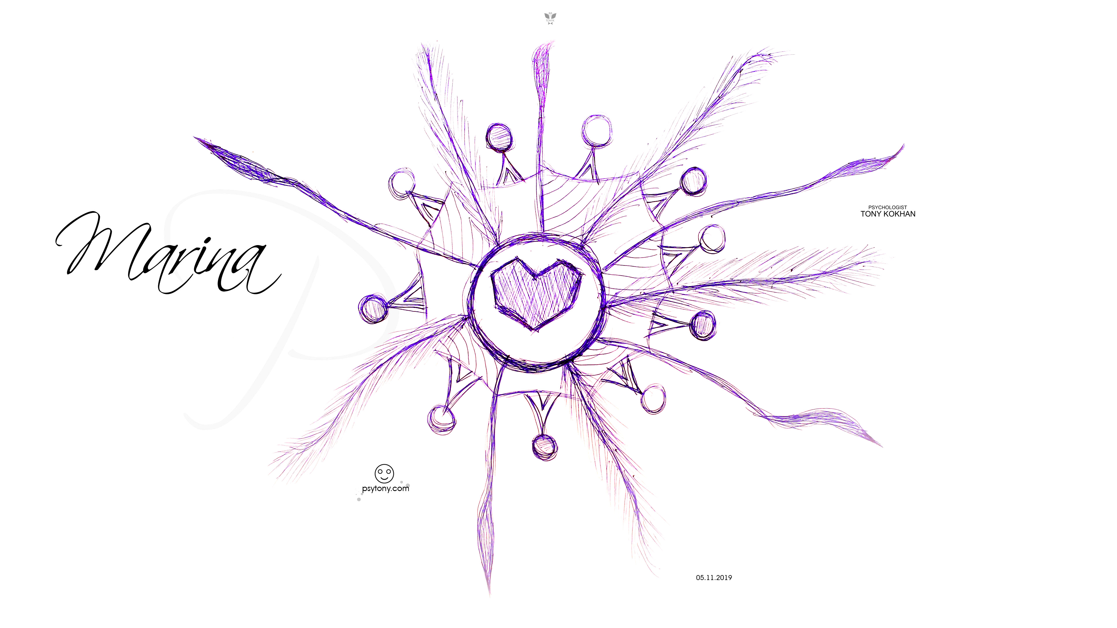 Marina-Soul-Girl-Heart-Love-Sun-Logo-Armor-Picture-Art-Drawing-with-Pen-2019-Blue-White-Colors-4K-Wallpapers-by-Psychologist-Tony-Kokhan-www.psytony.com-image