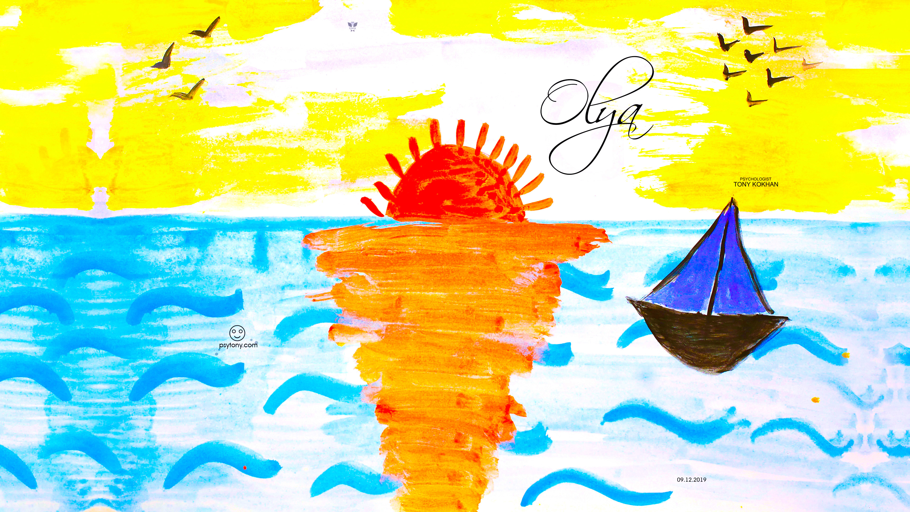 Olya-Soul-Girl-Sunset-Sea-Sun-Reflection-Birds-Sail-Travel-Nature-Arts-Picture-Gouache-Art-2019-Multicolors-4K-Wallpapers-by-Psychologist-Tony-Kokhan-www.psytony.com-image