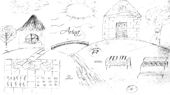 Arina-Soul-Girl-Nature-Sun-Birds-River-Two-Home-Bridge-Country-House-Barbecue-Privacy-Spot-Picture-with-Pencil-2019-Black-White-4K-Wallpapers-by-Psychologist-Tony-Kokhan-www.psytony.com-image