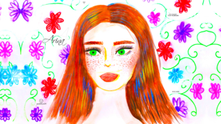Arina-Soul-Girl-Portrait-Self-Portrait-Green-Eyes-Confidence-Loneliness-Flowers-Freckles-Sadness-Brown-Hairs-Style-Art-2020-Multicolors-4K-Wallpapers-by-Psychologist-Tony-Kokhan-www.psytony.com-image