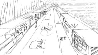 Daria-Soul-Girl-Train-Peron-Car-Two-People-Lanterns-Perspective-Run-Away-From-Yourself-Travel-Picture-Pen-Art-2019-Black-White-4K-Wallpapers-by-Psychologist-Tony-Kokhan-www.psytony.com-image