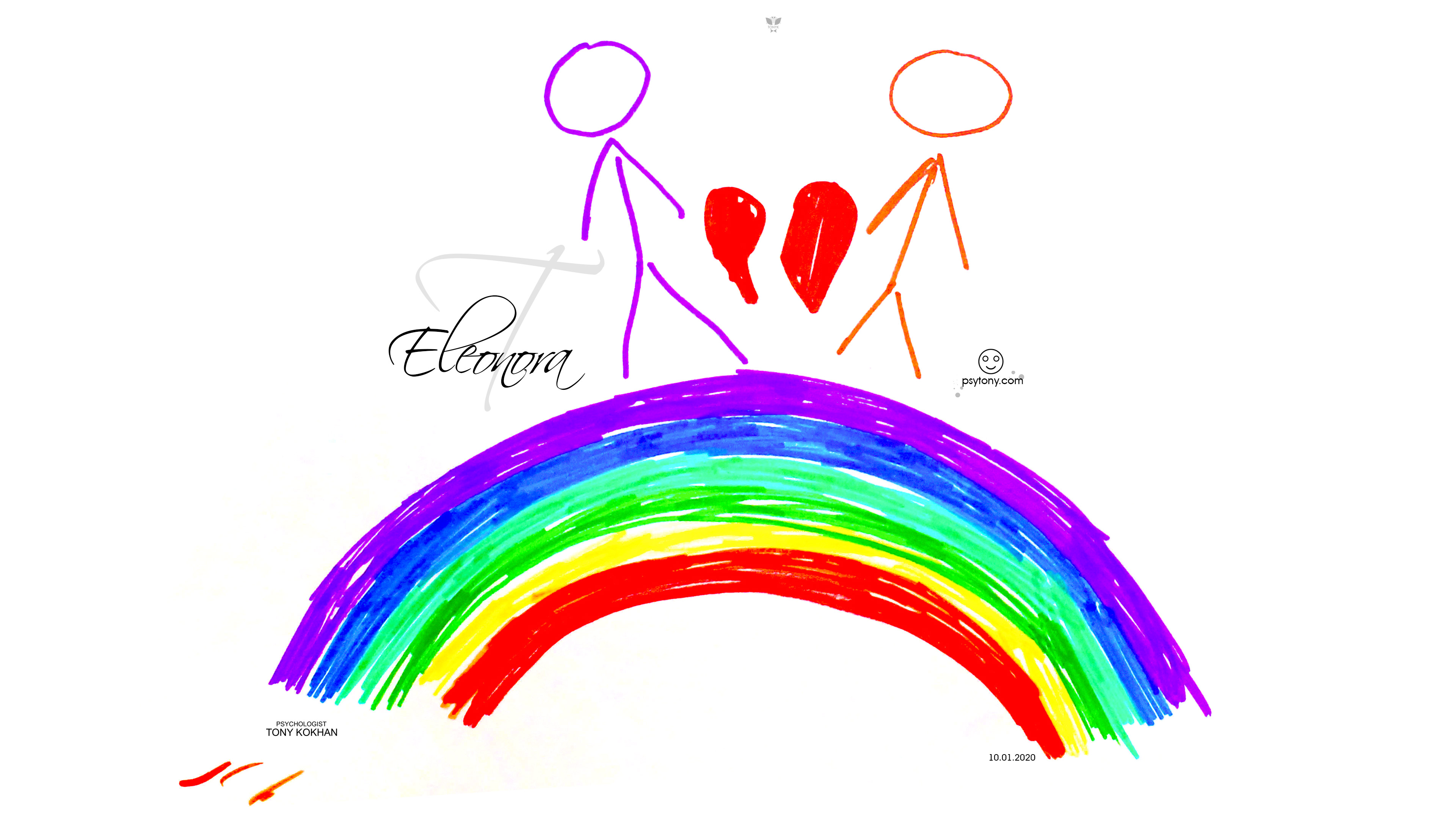 Eleonora-Soul-Girl-Boy-People-Empty-Faces-Love-Broken-Heart-Two-Halves-Rainbow-Picture-Markers-2020-Multicolors-4K-Wallpapers-by-Psychologist-Tony-Kokhan-www.psytony.com-image