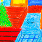 Ksenia Soul Girl Christmas Tree Area Amursk City Russia Police Picture Drawing with Pastel 2019