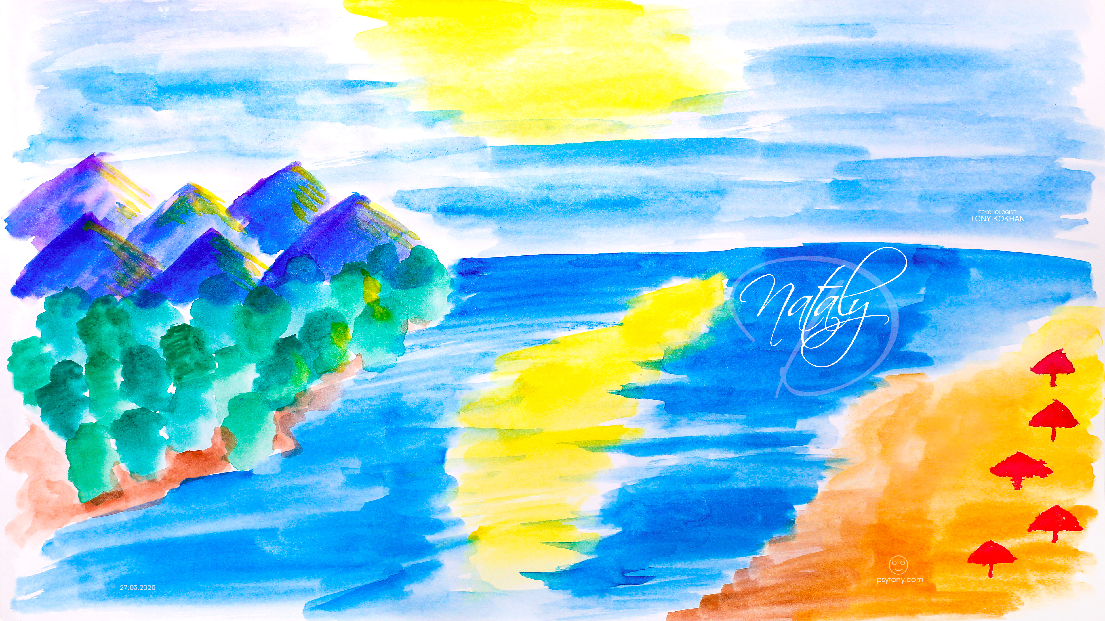 Nataly-Soul-Girl-Blurred-Sun-Deep-Reflection-Mountains-Red-Umbrellas-Beach-Lots-Of-Water-Blurry-Trees-Watercolor-Art-2020-Multicolors-4K-Wallpapers-by-Psychologist-Tony-Kokhan-www.psytony.com-image