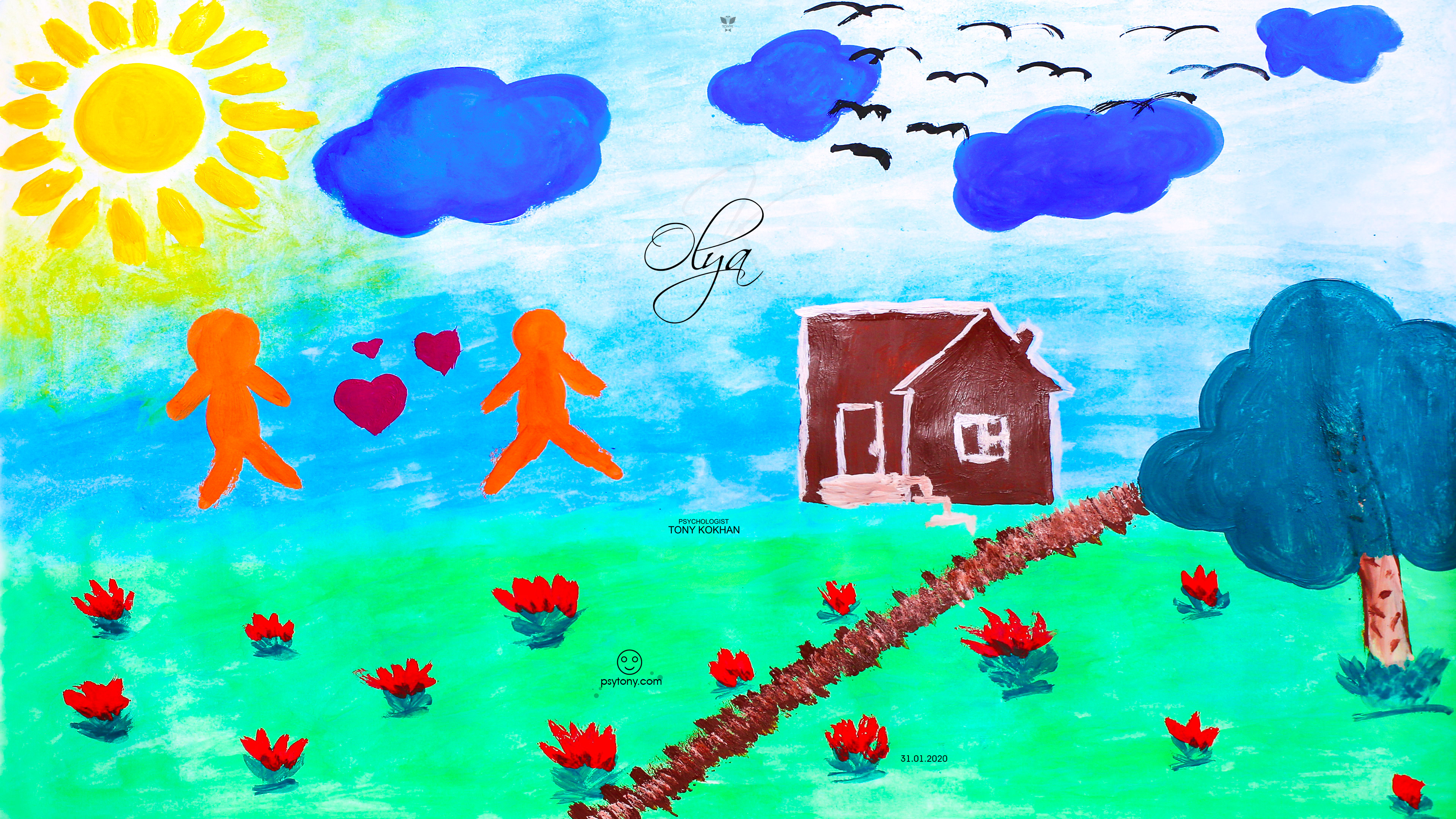 Olya-Soul-Girl-Nature-Sun-Grass-Tree-Sky-Clouds-Birds-Fire-Flowers-Angry-Home-Love-Heart-Boy-Girl-Gouache-Picture-Art-2020-Multicolors-4K-Wallpapers-by-Psychologist-Tony-Kokhan-www.psytony.com-image