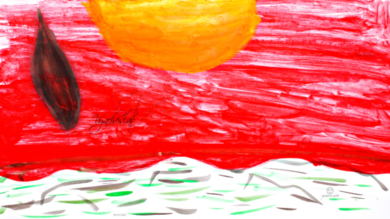 Vyacheslav-Soul-Boy-Bloody-Sunset-Coast-Pen-Blood-Decree-Warrior-Drawing-Gouache-Art-2020-Red-Orange-Black-Colors-4K-Wallpapers-by-Psychologist-Tony-Kokhan-www.el-tony.com-image