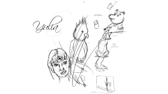 Yulia-Soul-Girl-Angry-Girl-Parrot-Little-Fox-Turned-Away-Sick-Winnie-The-Pooh-Square-4Angle-Emotions-Art-2020-Black-White-Colors-4K-Wallpapers-by-Psychologist-Tony-Kokhan-www.psytony.com-image