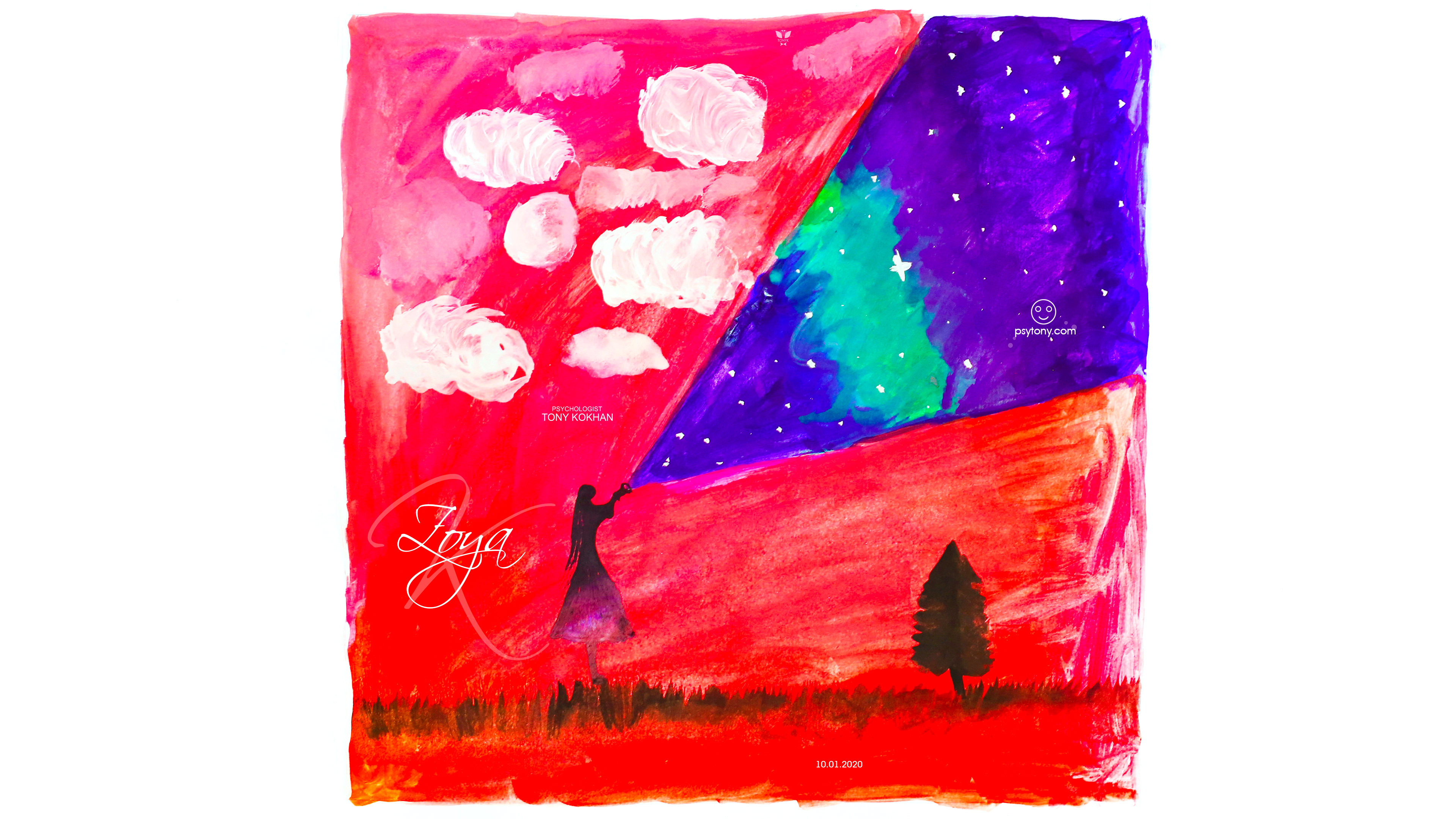 Zoya-Soul-Girl-Space-Stars-Flashlight-Ray-Sky-Nature-Grass-Tree-Karma-Bird-Square-Frame-Picture-Gouache-Art-2020-Multicolors-4K-Wallpapers-by-Psychologist-Tony-Kokhan-www.psytony.com-image