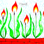 Margarita Soul Girl Fire Flame Flowers Water Rain Brick Wall Emotions Markers Art 2021