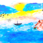 Nataly Soul Girl Sea Many Water Sail Birds Volcano Clouds In The Sun Many Blue Colors Gouache Art 2021