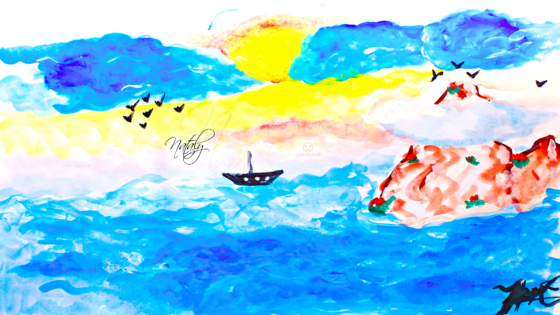 Nataly-Soul-Girl-Sea-Many-Water-Sail-Birds-Volcano-Clouds-In-The-Sun-Many-Blue-Colors-Gouache-Art-2021-Multicolors-4K-Wallpapers-by-Psychologist-Tony-Kokhan-www.psytony.com-image