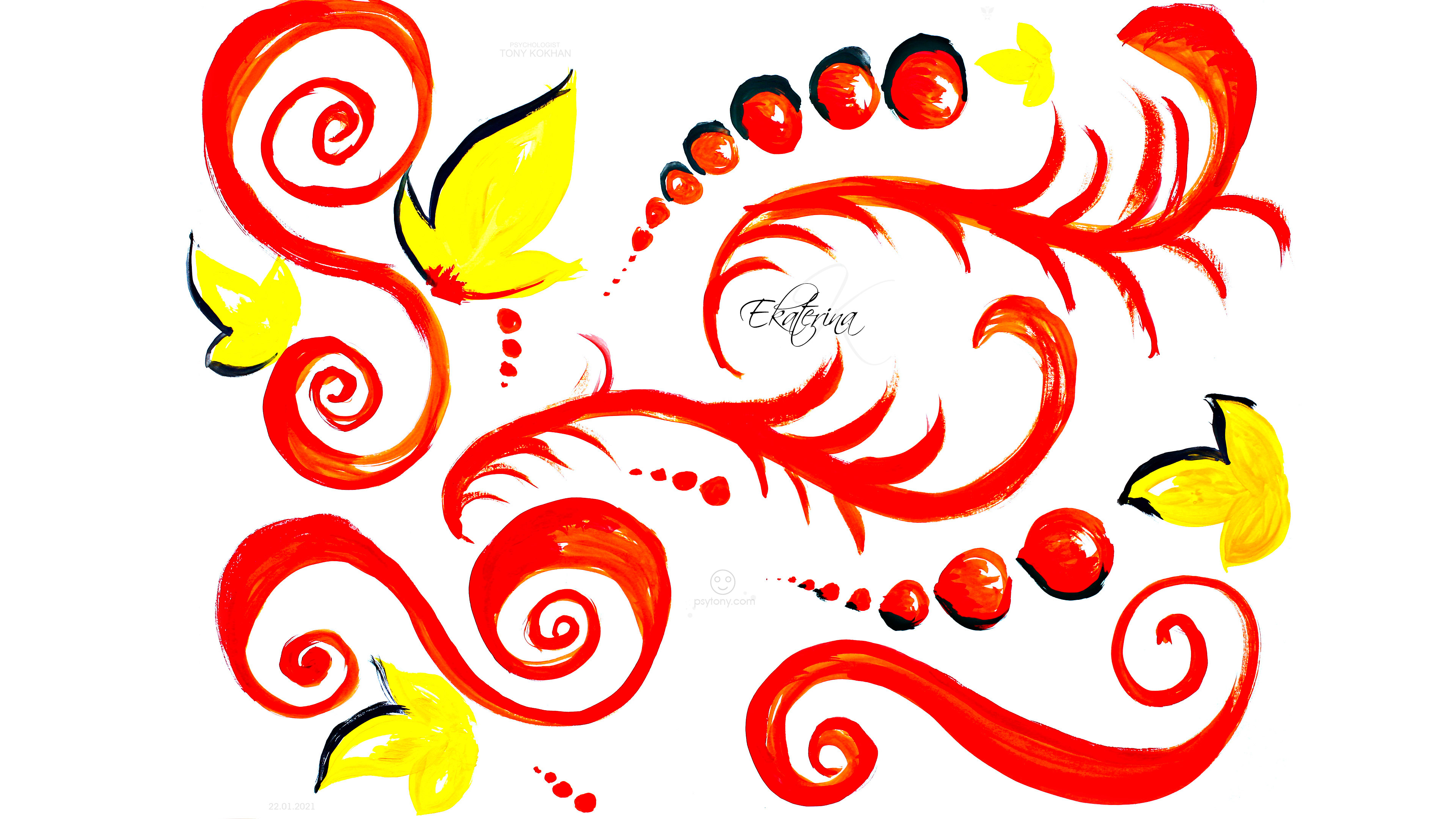 Ekaterina-Soul-Girl-Curls-Leaves-Circles-Undivine-Fire-Autumn-Energy-Gouache-Picture-Art-2021-Multicolors-4K-Wallpapers-by-Psychologist-Tony-Kokhan-www.psytony.com-image
