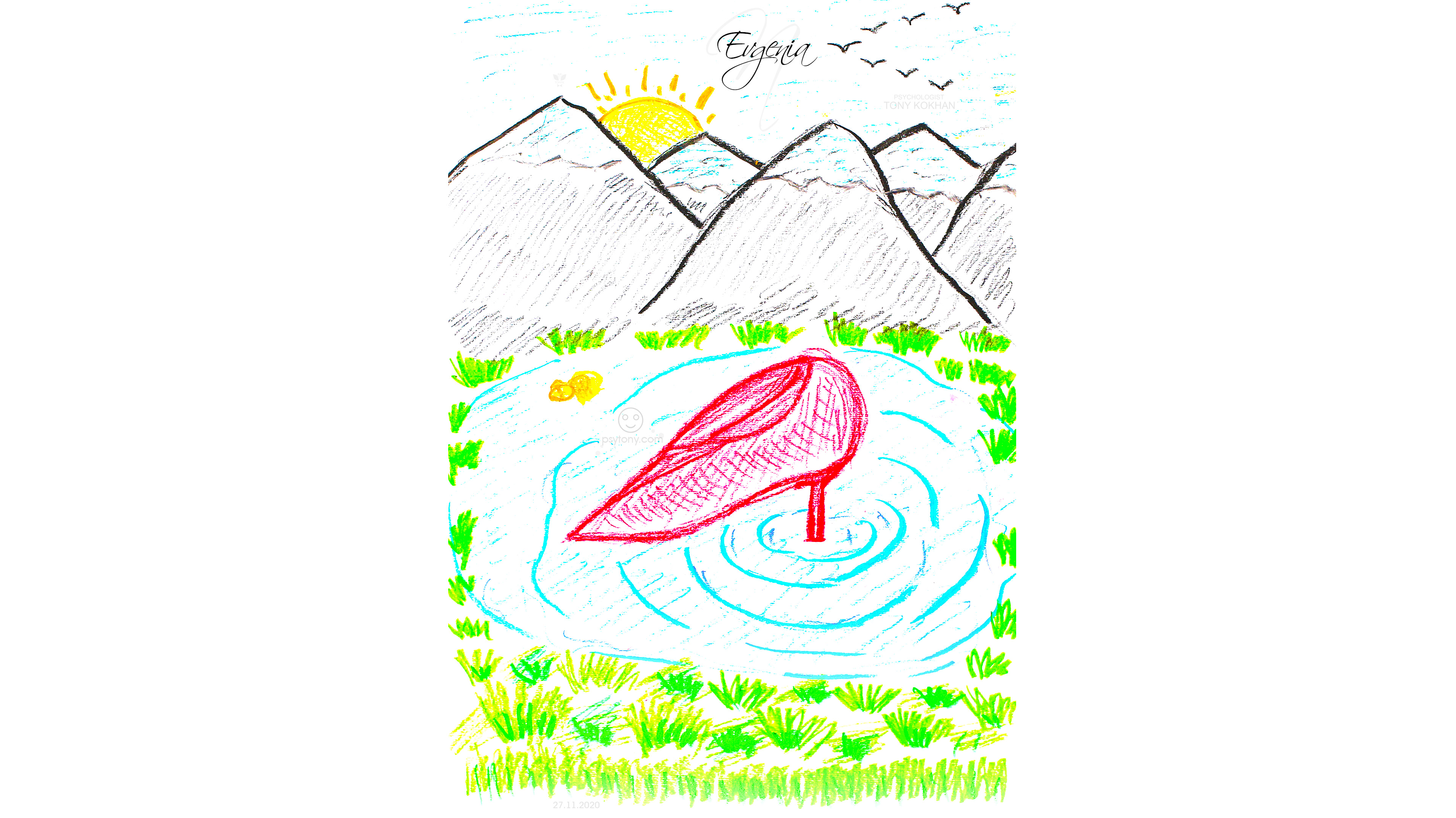 Evgenia-Soul-Girl-Sun-Beyond-The-Mountains-Birds-Gold-Fish-Womens-Shoes-Water-Grass-Pastel-Art-2021-Multicolors-4K-Wallpapers-by-Psychologist-Tony-Kokhan-www.psytony.com-image